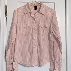 Gap long sleeved striped western style top.